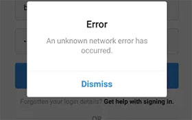 Instagram: unknown network error
